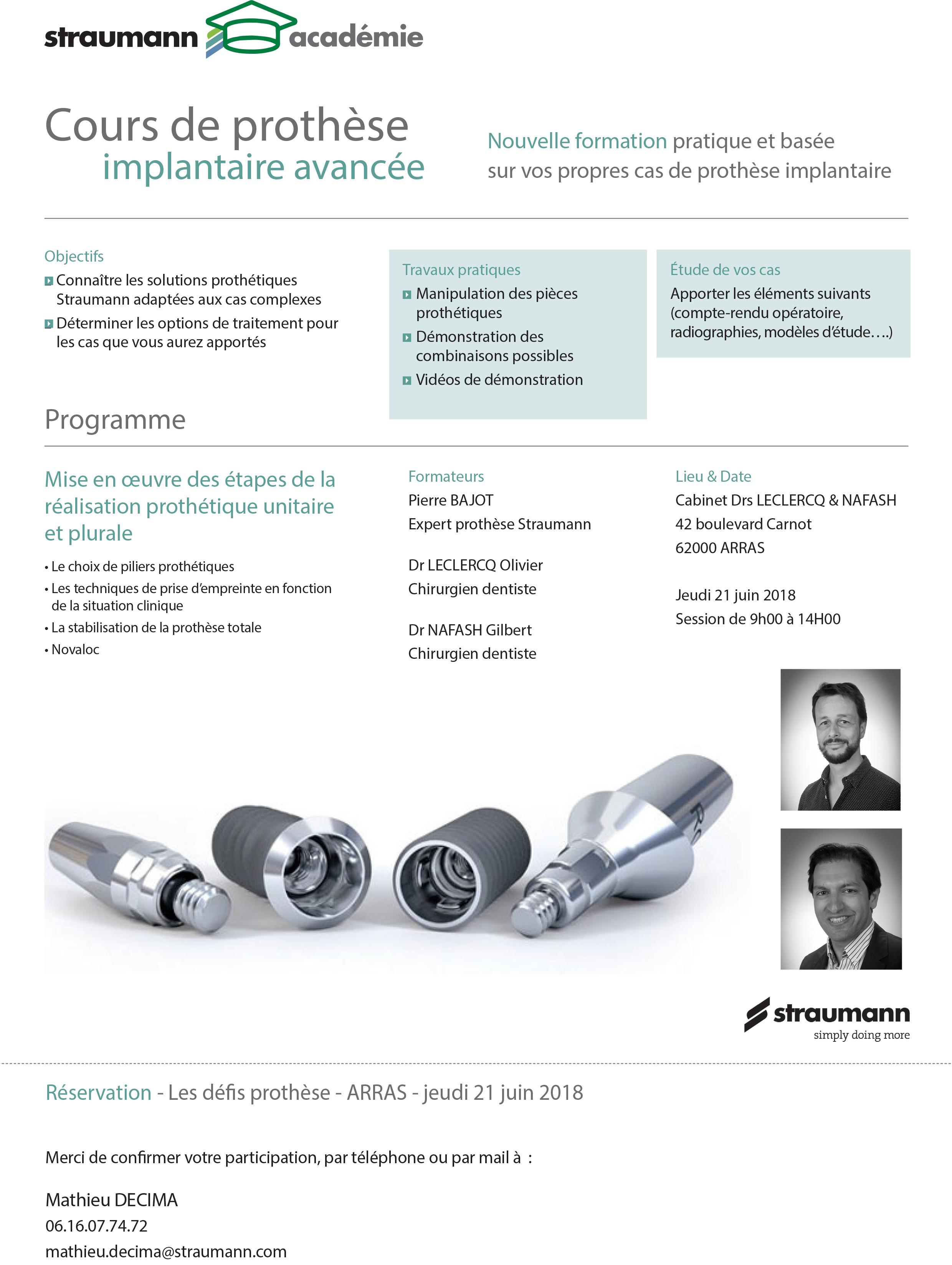 Cours de prothèse implantaire avancée @ Cabinet Drs LECLERCQ & NAFASH